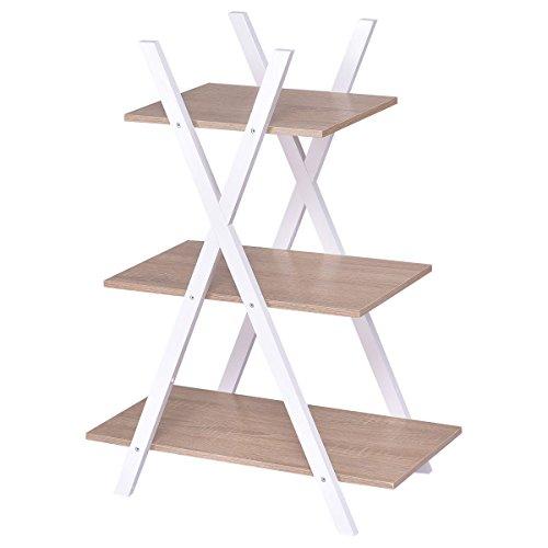 Giantex 3 Tier Bookshelf Shelves Ladder Home Office X-Shape Storage Bookcase Display 3 Shelf Display