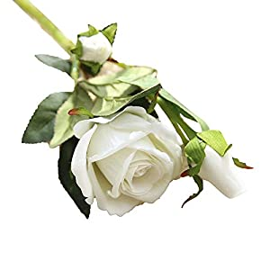 HitHopKing Artificial Rose Flowers Flannel Flower Bridal Bouquet Wedding Party Home Decor (White, 1) 38