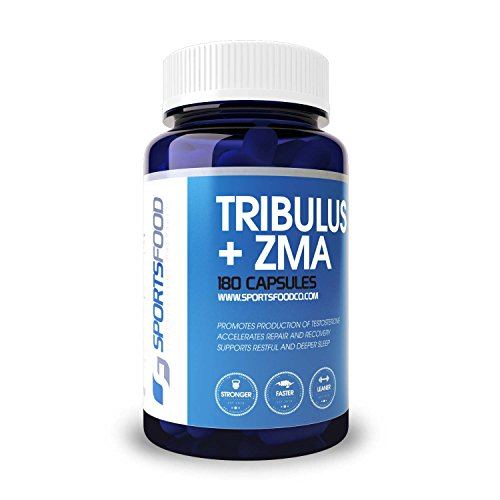 Sports Food Tribulus + ZMA - Natural Recovery and Testosterone Booster - 1000mg x 180 Capsules - Optimized Combo of Proven Boosters - 80% Protodioscin Bulgarian Extract - Increase Strength & Libido