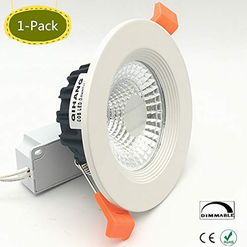 Downlight Four - 1-Pack High Power 3.86Inch Dimmable Recessed LED Ceiling Down Light Fixture Watts COB LED Spotlight Flood Lamp White Gimbal Recessed LED Downlight COB Ceiling Lamp AC110V(Natural Wihte 4000-4500K)