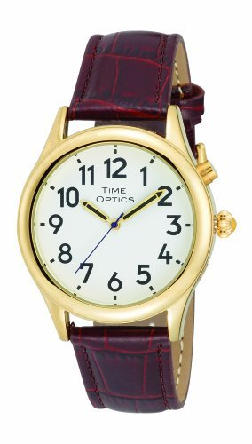 TimeOptics Men's Talking Gold-Tone Alarm Leather Strap Watch