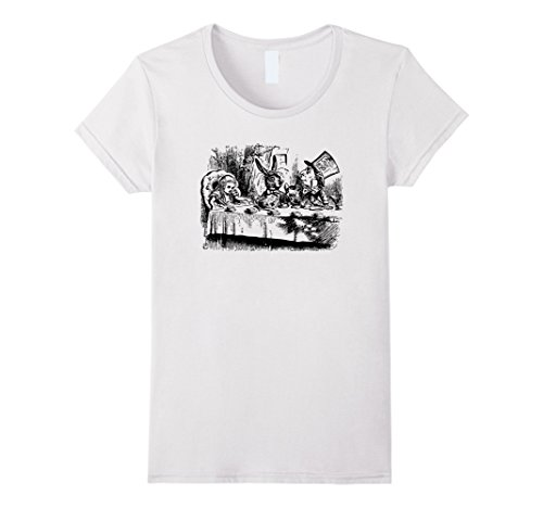 [Big Texas Alice in Wonderland Mad Hatters Tea Party T-Shirt - Female XL - White] (Female Mad Hatter)