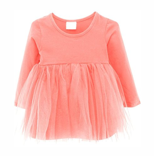 Guandiif Baby Girls Dresses Lace Long Sleeves Tulle Tutu Princess Dress Cute Toddler Dress For Kid Girls 9-12 Months Pink