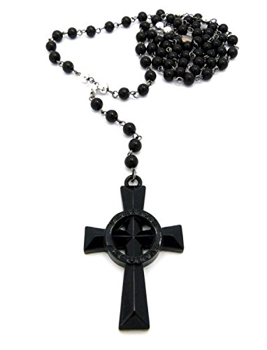 Jet Black-Tone Veritas Aequitas Cross Glass Bead Rosary 30