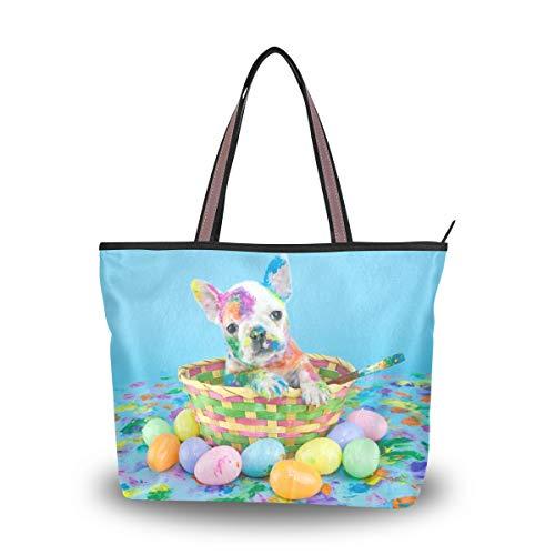 Women Top Handle Tote Bag French Bulldog Sitting Easter Basket Shoulder Bag Handbag