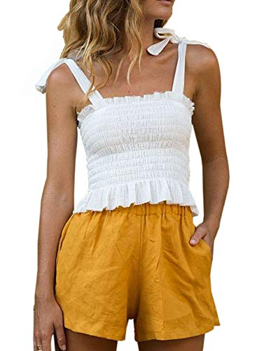 Sidefeel Women Tie Shoulder Frill Smocked Solid Crop Tank Top Strap Vest Small White