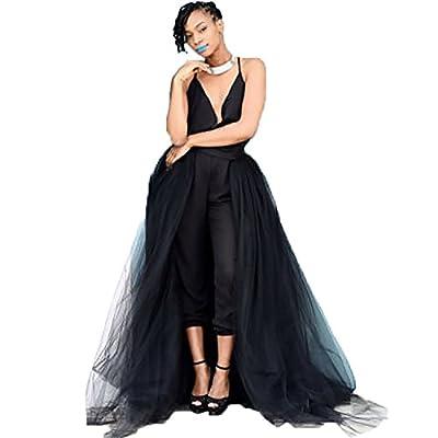 Summer Rain Women's 4 Layers Overlay Long Tulle Skirt Overskirt Floor Length Tutu for Wedding Party
