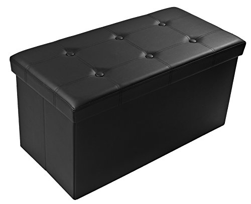 Finnhomy Folding Storage Ottoman Bench, Toy and Shoe Chest Faux Leather Seat & Foot Rest, 30'' Folding Storage Bin with Turfed Top, Black