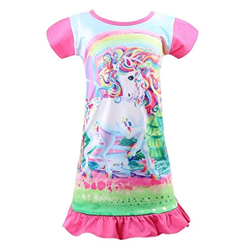 Kid Girls Unicorn Night Dress, Rainbow Princess Nightgowns Pajama, Short Sleeve Sleepwear Nightie (Unicorn-Rose red2, 8-9 Years)