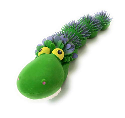 Sensory Snake Squeaky Dog Toy.100% Natural Rubber (Latex). Lead-Free & Chemical-Free. Complies to Same Safety Standards as Children's Toys. Soft & Squeaky. Best Dog Toy for Small Size Dog. (Green) ()