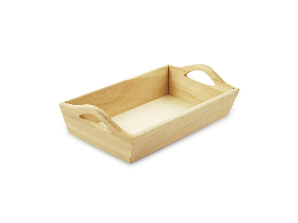 Multicraft Imports Paintable Wooden Tray with Handles, 8-1/8 by 4-5/8 by 2-1/8-Inch WS400
