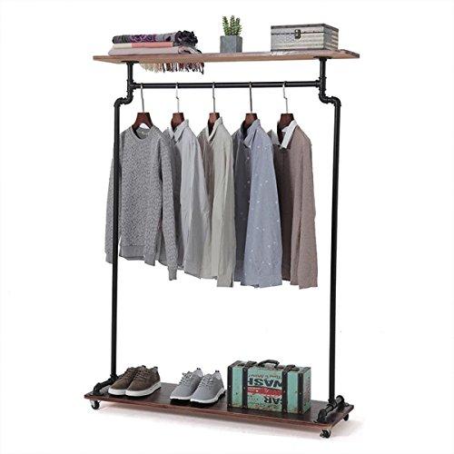 Warm Van Industrial Pipe Shelves Vintage Rolling Clothing Rack with Wheels Shoe Bag Shelf,Heavy Duty Commercial Grade Free Standing Garment Racks,Closet Steampunk Storage Decor 47''W x 60''H