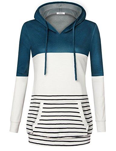 - Youtalia Hoodies for Ladies,Womens Casual Hooded Stripes Fall Breathable Sweatshirts Shirts Tops for Leggings by (Medium,Darkcyan)