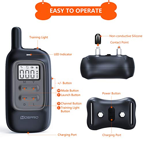 Shock Collar for Dogs - Dog Training Collar with Remote 1000Ft Rechargeable Rainproof Anti Bark E Collar,Beep Vibration Shock for Small Medium Large Dogs (2018 New) by MOSPRO (Image #6)