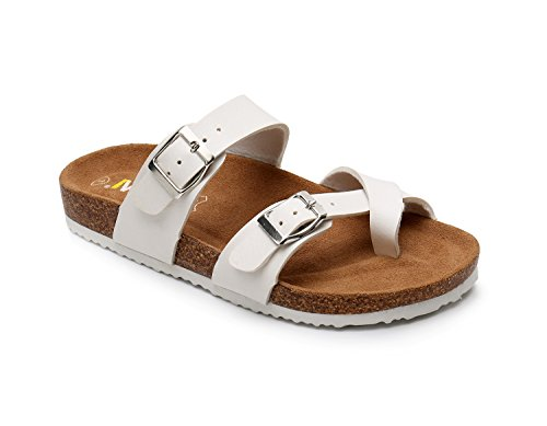 WTW Women Leather Sandals Arizona Slide Shoes (US 6, White) ()