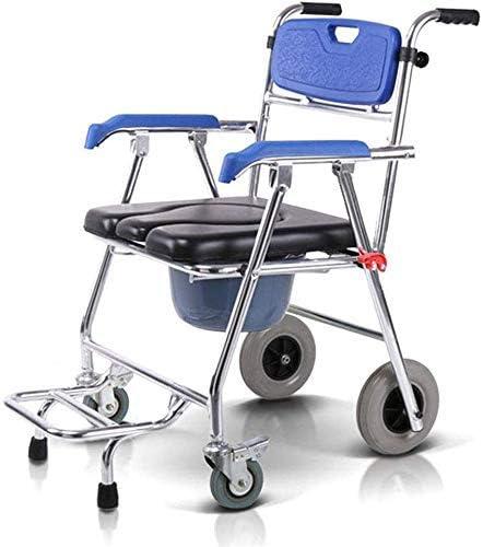TIN-YAEN Badezimmer Rollstühle, WC-Stuhl Multifunktions-Aluminium Bad Stuhl Elderly WC-Stuhl for Behinderte Mobiltoilette...
