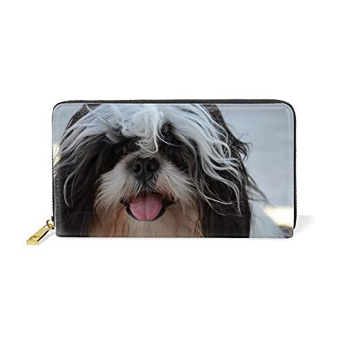(Happy Shih Tzu Wallets for Women Card Holder Zipper Purse Phone Clutch Wallet )