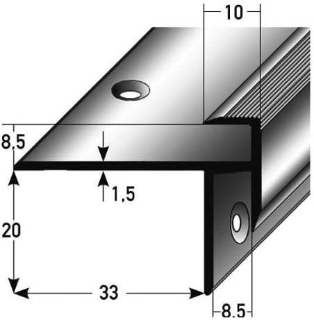 Einfassh/öhe 8,5 mm 33 mm breit Aluminium eloxiert gebohrt 3 x 2,5 Meter Laminat-Treppenkante//Winkelprofil