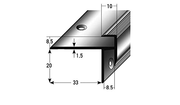 3 metros (3 x 1 m) - Perfil de escalera / Perfil angular / Mamperlán (parquet / laminado), elevación: 8,5 mm, 33 mm de ancho, aluminio anodizado, perforado: Amazon.es: Hogar