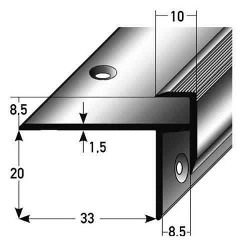 parquet // laminado 33 mm de ancho perforado elevaci/ón: 15,3 mm Perfil de escalera // Perfil angular // Mamperl/án aluminio anodizado