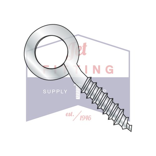 1/4X2 Closed Eye Screw (1/4 Inch Diameter) (3/4 Inch of Lag Thread) | Sharp Point | Low Carbon Steel | Zinc (Quantity: 1200) by Jet Fitting & Supply Corp