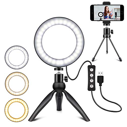 LED Ring Light 6 inches Dimmable with Tripod Stand Cell Phone Holder USB Powered for YouTube Video Makeup Desktop LED Lamp with 3 Light Modes 11 Brightness Level