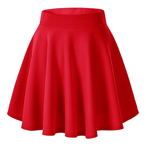 Velma Costume (Women's Basic Solid Versatile Stretchy Flared Casual Mini Skater Skirt (X-Large, Red))