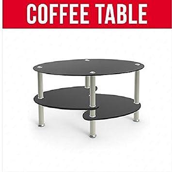 Design Table Basse Ovale Avec Tablettes En Verre Noir Et Pieds Chromés  Canapé De Salon/