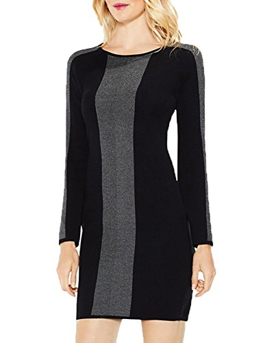 Vince Camuto Birdseye Jacquard Sweater Dress (Rich Black, (Vince Sweater Dress)
