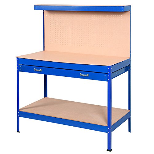 Goplus Steel Workbench Tool Storage Work Bench Workshop Tools Table W/ Drawers and Peg Board,Blue by Goplus