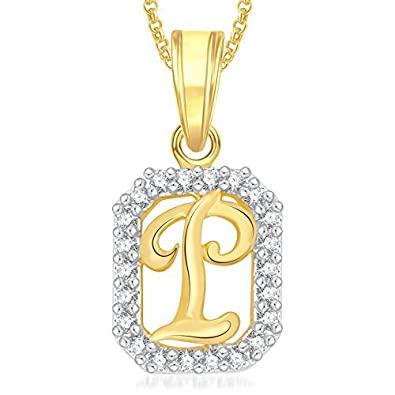Valentine Gifts Meenaz Gold Plated  P  Letter Pendants Alphabet Pendant  With Chain For Men 83a8b6f5ba2