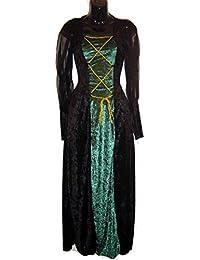 Renaissance Lady Velvet Dress Black & Evergreen 01466