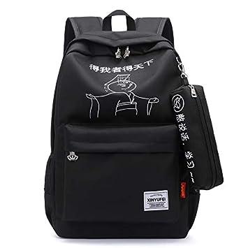 Paquete Las alumnas Mochilas Escolares Harajuku Campus Salvaje Doble Mochila Bandolera 30 * 46 * 16cm,T: Amazon.es: Deportes y aire libre