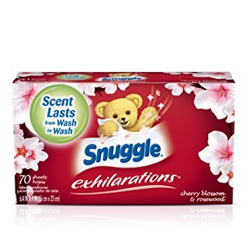 Snuggle Exhilarations Fabric Softener Dryer Sheets, Cherry Blossom & Rosewood, 70 Count - Pack of 6 by Snuggle S