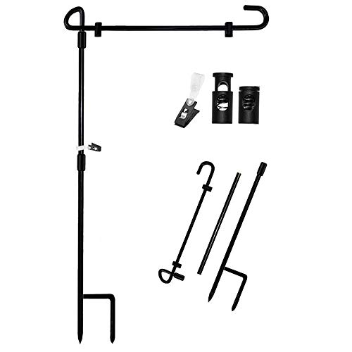 "Garden Flag Stand Banner Flagpole, Black Wrought Iron Yard Garden Flag Pole - Holds Flags up to 12.5"" in Width for Outdoor Garden Lawn"