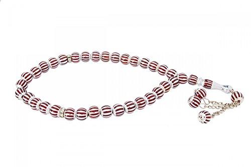 Rosary Prayer Beads Tesbih Tasbih Misbaha Subha - Silver Red Colors (Arabic Prayer Beads)