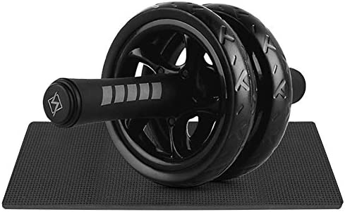 Abワークアウト運動用Abローラー、アンチスリップスクロールホイール付きミュート両輪腹部ローラー運動、コアトレーニング用ポータブルフィットネスホイール、ブラック/ブルー