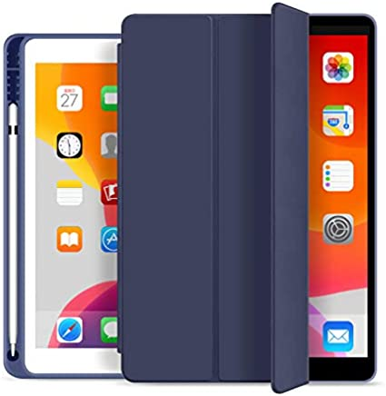 RKINC Funda para iPad Mini 5, Inteligente Cuero PU tríptico Slim fit Portalápices con Funda Trasera Suave de TPU [Auto Sleep/Wake] para Apple iPad Mini 5 (5th Gen 2019)(Navy Blue)