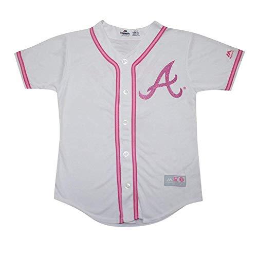 Outerstuff Atlanta Braves Blank Girls Kids Youth White Pink Cool Base Jersey (5/6)