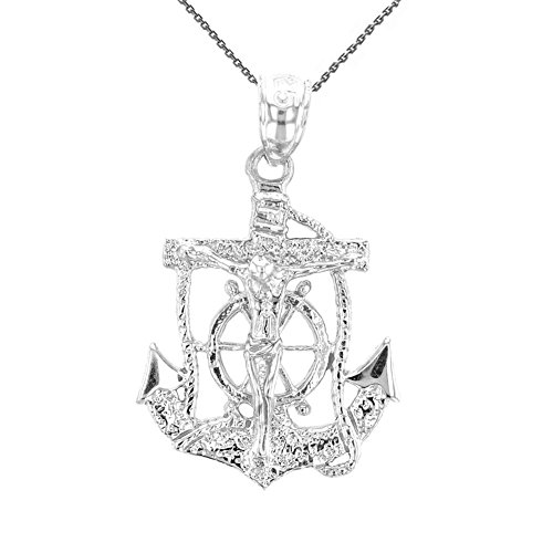 Solid Sterling Silver Mariners Anchor Crucifix Pendant Necklace, 16