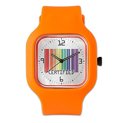 Orange Fashion Sport Watch Gay Certified Pride Bar Code by Royal Lion