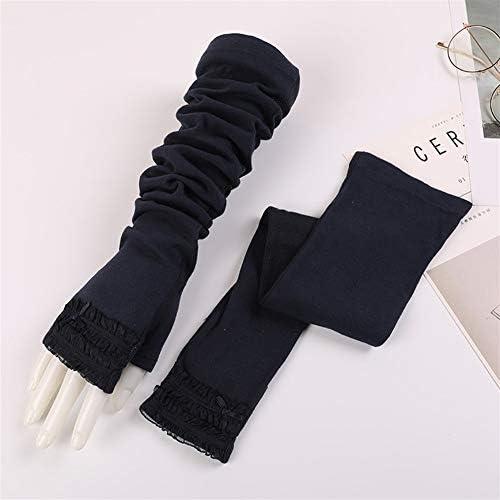 手袋 日常 実用 UVプロテクションアームスリーブ滑り止め通気性サンシェードスリーブ運転女性の長いセクション綿の日焼け止め手袋 (Color : Gray-A, Size : One size)