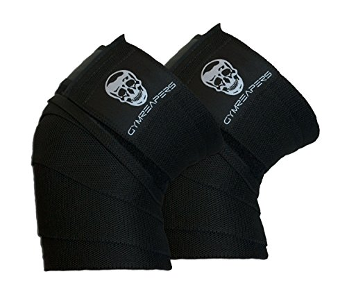 "Gymreapers Knee Wraps (Pair) with Strap for Squats, Weightlifting, Powerlifting, Leg Press, and Cross Training - Flexible 72"" Knee Wraps for Squatting - for Men & Women - 1 Year Warranty (Black)"