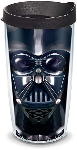 (Tervis 1141872 Star Wars - Darth Vader Tumbler with Wrap and Black Lid 16oz, Clear)