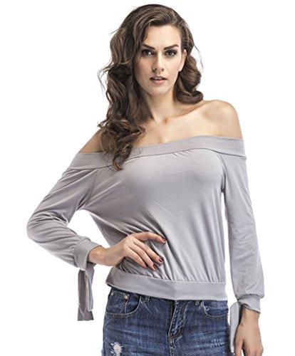 ZKOO Mujer Color Sólido Outwear Manga Larga De Sudaderas Hombros Descubiertos Camisetas Capucha Gris