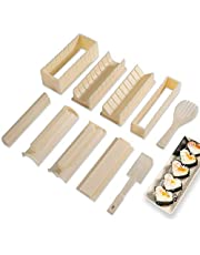 Sushi Making Kit Deluxe Edition with Complete Sushi Set 10 Pieces Plastic Sushi Maker Tool Complete with 8 Sushi Rice Roll Mold Shapes Fork Spatula DIY Home Sushi Tool (Off-White) (Off-White)