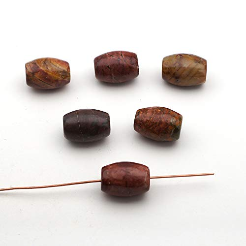 6 Pcs Multicolor Barrel Shape Red Creek Jasper Beads 17mm