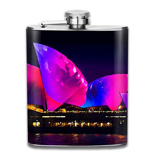 Laki-co Purple Sydney Theatre Wine Water Hip Flask for Liquor Stainless Steel Bottle Alcohol 7oz