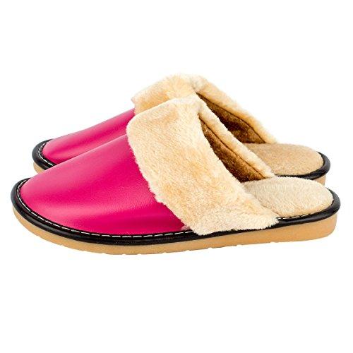 Haisum 8813-w - Zapatillas de estar por casa de Piel Sintética para mujer rosa (b)