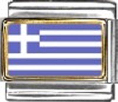 Greece Photo Flag Italian Charm Bracelet Jewelry Link